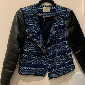 Zara knit leather jacket